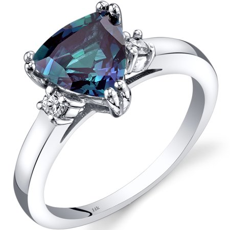 2 Carat T.G.W. Triangle-Cut Created Alexandrite and Diamond Accent 14kt White Gold Ring Size 7