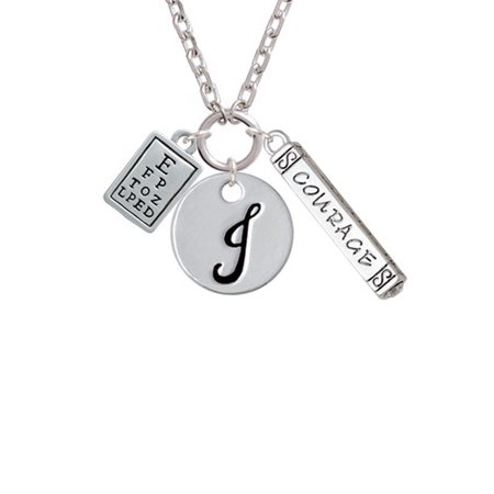 Delight Jewelry Eye Chart J Script Initial Disc Courage