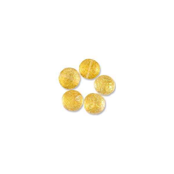 Czech Pressed Glass Button Bead 13mm Honey Lustre (5-Pcs)