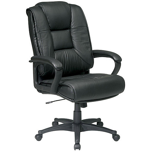Office Star Executive High-Back Glove Soft Leather Chair with Padded Loop Arms