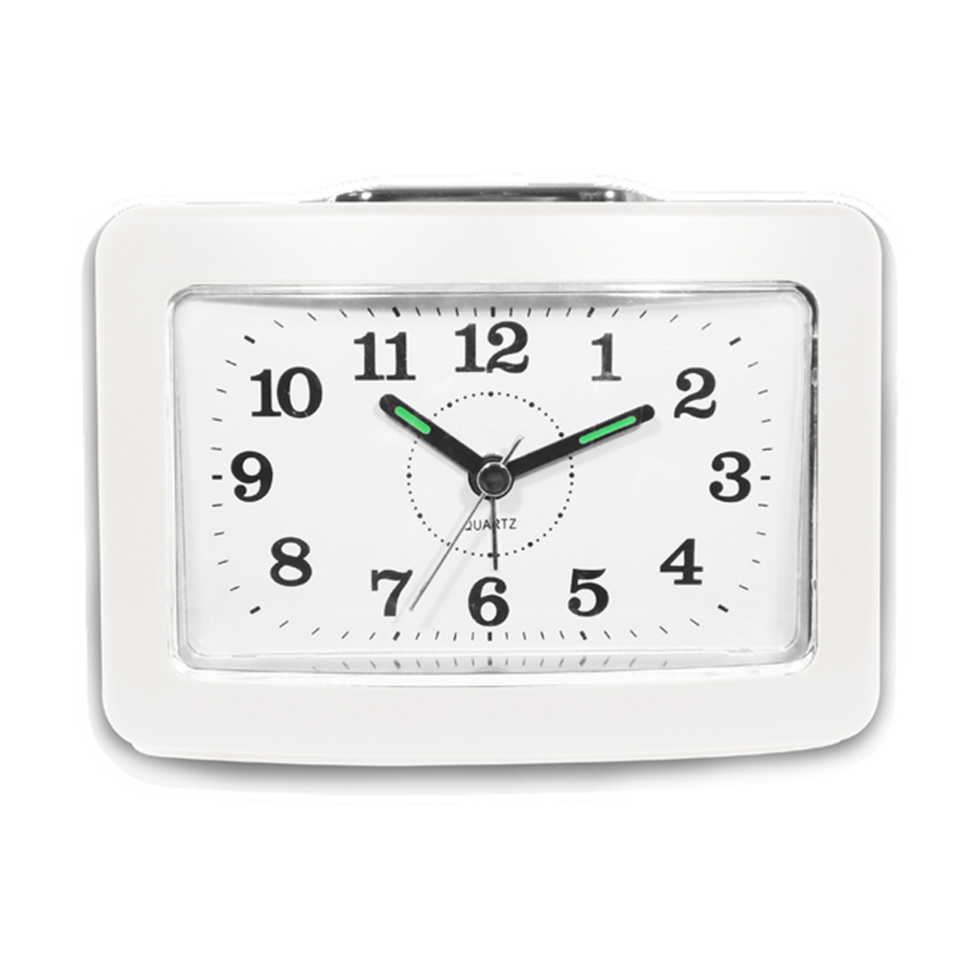 Bell Alarm Clock with Snooze and Light, White by Impecca