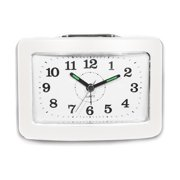 Bell Alarm Clock with Snooze and Light, White