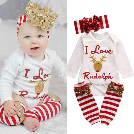 35c44aa14 Emmababy - Cute Christmas Infant Baby Girl Deer Romper tops +Leg Warmers  +Headband 3pcs Outfits Set Clothes - Walmart.com