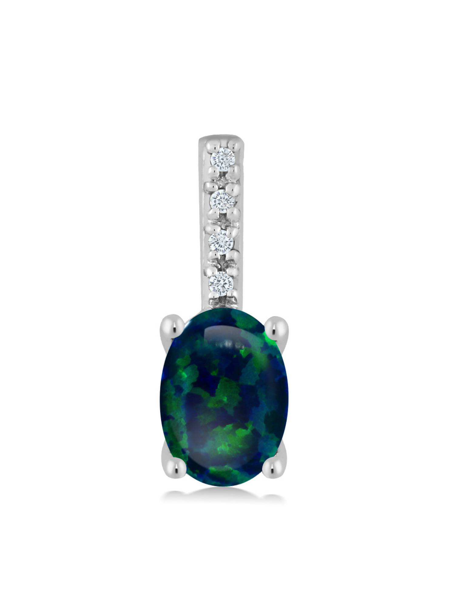10K White Gold 0.63 Ct Oval Cabochon Green Simulated Opal Diamond Bail Necklace by