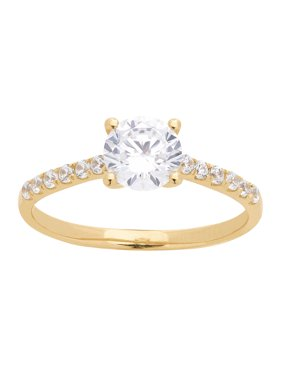 Brilliance Fine Jewelry 10K Yellow Gold Solitaire Ring w/6MM Simulated Diamond, Size 7