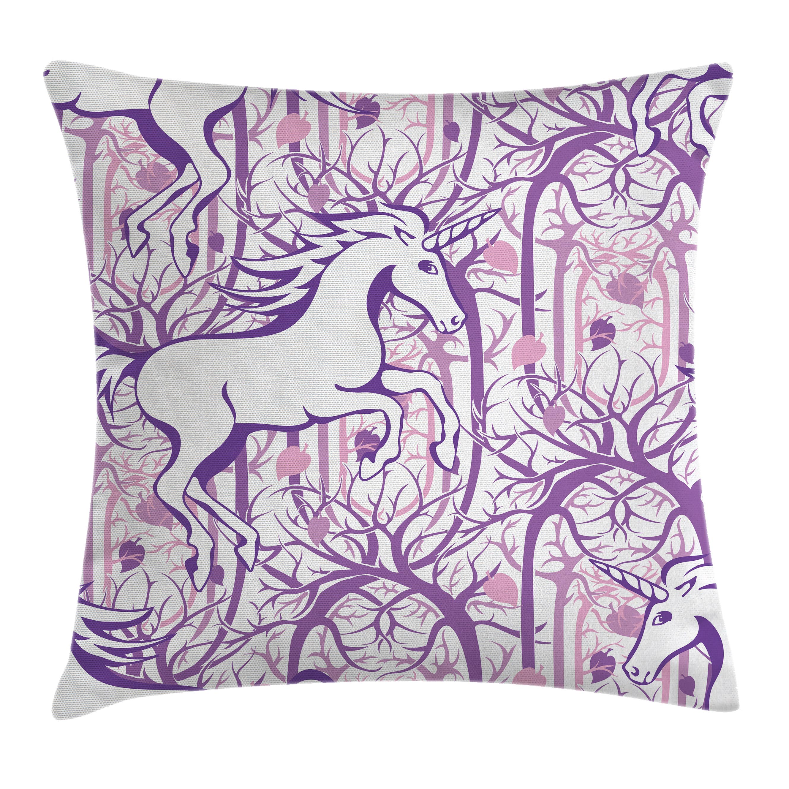 Unicorn Home and Kids Decor Throw Pillow Cushion Cover, Unicorn Galloping on Curved Swirled Tree Branches in Forest Design, Decorative Square Accent Pillow Case, 16 X 16 Inches, Purple, by Ambesonne