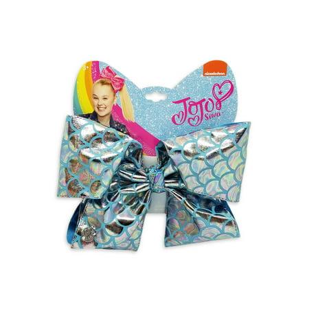 JoJo Siwa Large Cheer Hair Bow (Silver Metallic Mermaid)