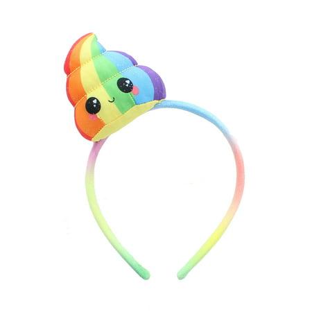 Glitter Galaxy Plush Rainbow Poop Emoji Child Costume Headband