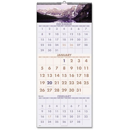Visual Organizer Scenic 3-Month-Per-Page Panoramic Wall Calendar