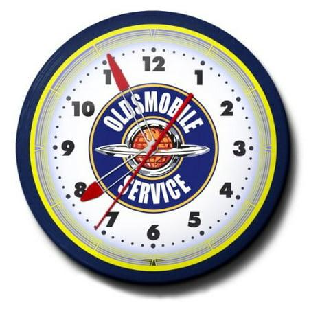 Oldsmobile Service Automobile Car Emblem Neon Wall Clock