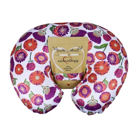- Minky Nursing Pillow Slipcover | Floral Design | Infant Breastfeeding Soft Pillow Cover | Great Baby Shower Gift for Any Mom to Be by Adorology (Pillow Not Included)