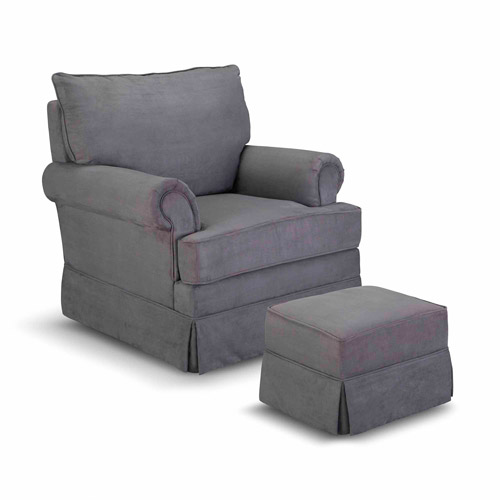 Thomasville Kids Grand Royale Upholstered Swivel Glider and Ottoman Gray by Thomasville Kids
