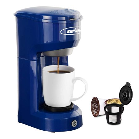 Single Serve Coffee Maker Brewer for Single Cup, K-Cup Coffeemaker With Permanent Filter, 6oz to 14oz Mug, One-touch Control Button with Illumination,