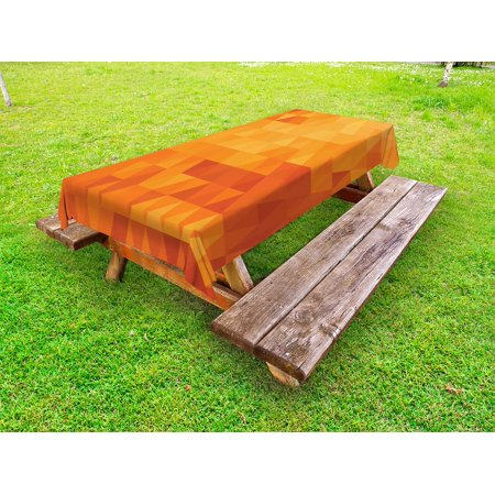 Orange Outdoor Tablecloth Triangle Mosaic Shapes And Patterns With - Triangle picnic table