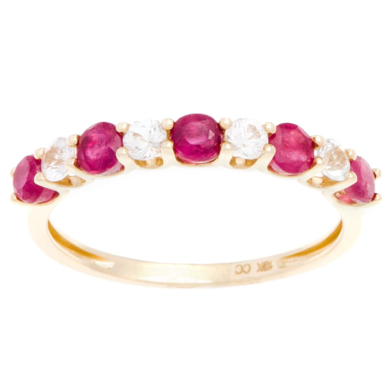 viducci  10k Gold Ruby and White Sapphire Band