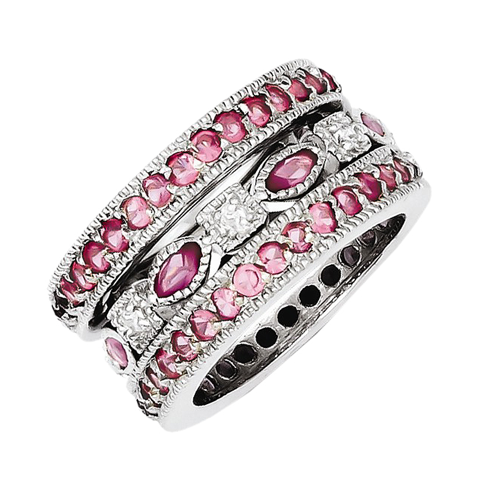 925 Sterling Silver Pink and White Synthetic Cubic Zirconia Triple Band Ring