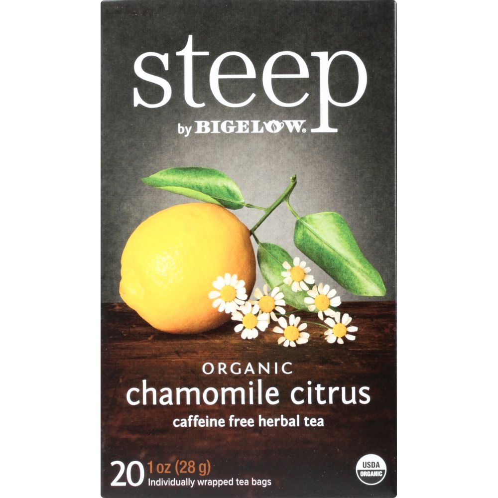 Steep By Bigelow Organic Chamomile Citrus Caffeine Free Herbal Tea Bags, 20 Count, 1 Oz (Pack Of 6)