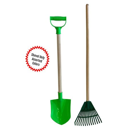 Kids Assorted Beach Toy Sand Shovel with Plastic Spade with Wood Handle & Garden Rake Set Landscape Cultivator Gardening Tool for Ages 3-5 (Plastic Toy Shovel)