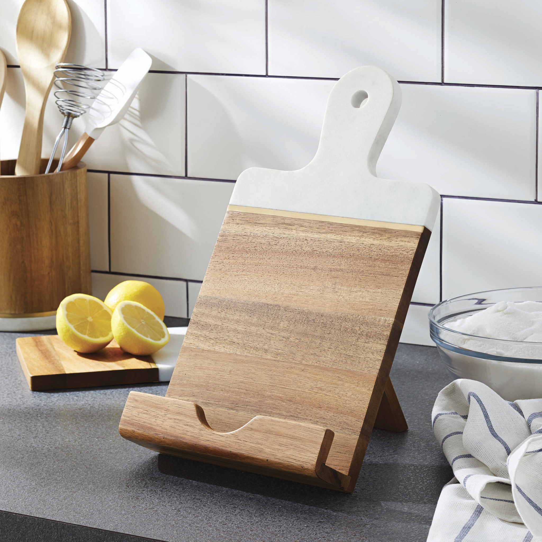 Better Homes & Gardens Acacia Wood and Marble Cookbook/Tablet Holder