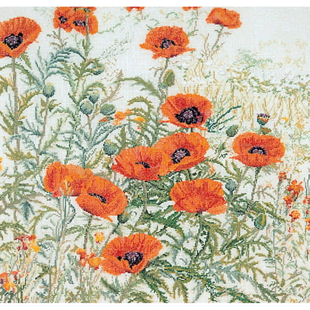 Orange Poppies On Aida Counted Cross-Stitch Kit, 17 75