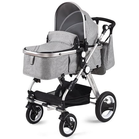 Costway Folding Aluminum Infant Baby Stroller Kids Carriage Pushchair W/ Diaper Bag Gray