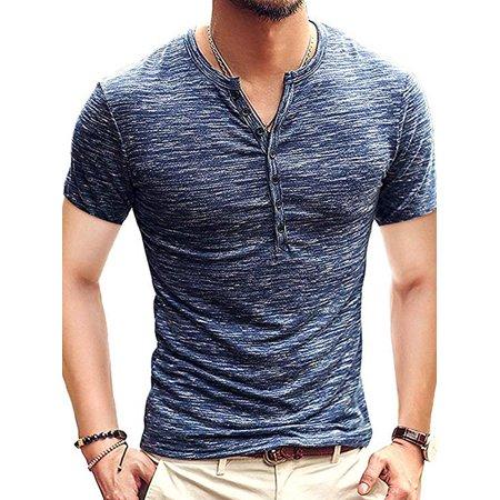 Hyamens Mens Silk Short Sleeve Casual T-Shirt Button