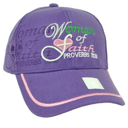 Woman Of Faith Proverbs 31:30 Purple Adjustable Hat Cap Religion Bible Jesus God