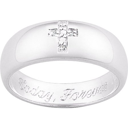 Personalized Sterling-Silver Diamond Accent Cross Message Ring