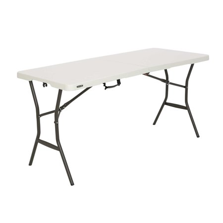 Lifetime Products Outdoor Table (Lifetime 5' Essential Fold-in-Half Table, Pearl,)