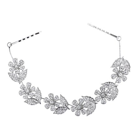 Lux Accessories Silver Tone Floral Flower Rhinestone Hair Accessory Hair (Tone Rhinestone Clip)
