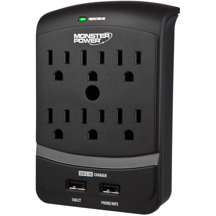 Monster Core Power 6-Outlet Wall Tap with USB Charging