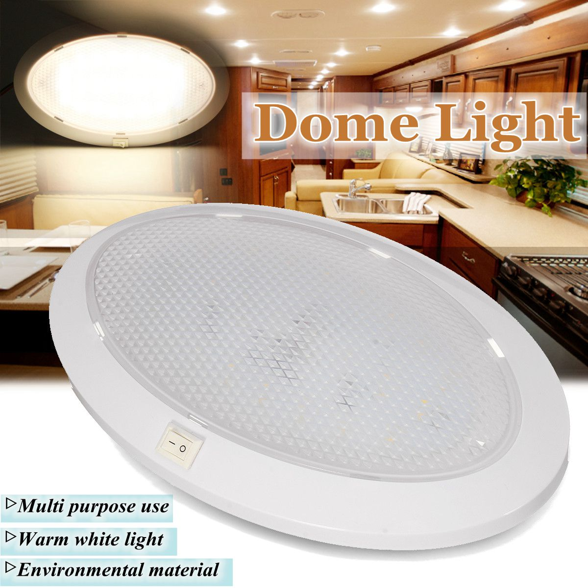 Exceptional 12V LED RV Ceiling Dome Light RV Interior Lighting For Caravan Trailer Boat  Camper With Switch Single Dome   Walmart.com