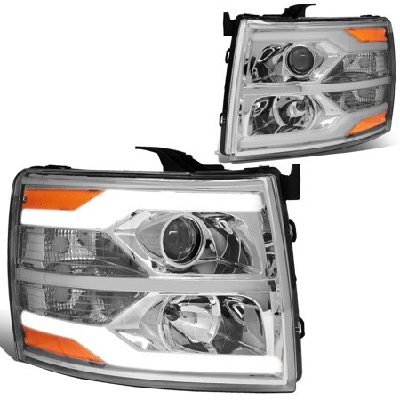 For 07 14 Chevy Silverado Dual Led Drl Strip Projector Headlight Chrome Housing Amber Side Headlamp 08 09 10 11 12 13 1500 2500 3500