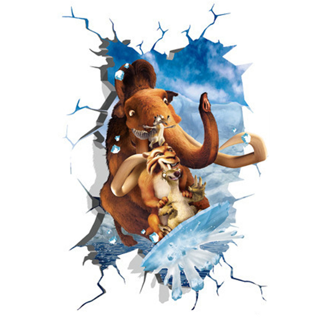 3d View Effect Animals Print Adhesive Wall Sticker Decal Wallpaper 90x60cm
