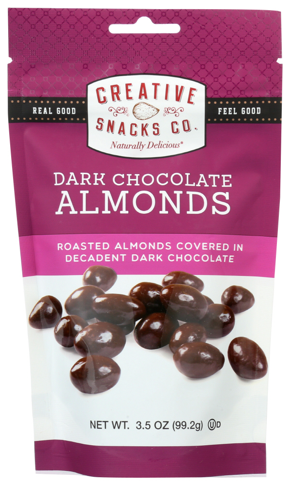 (6 Pack) Creative Snacks Co. Nuts, Dark Chocolate Almonds, 3.5 oz