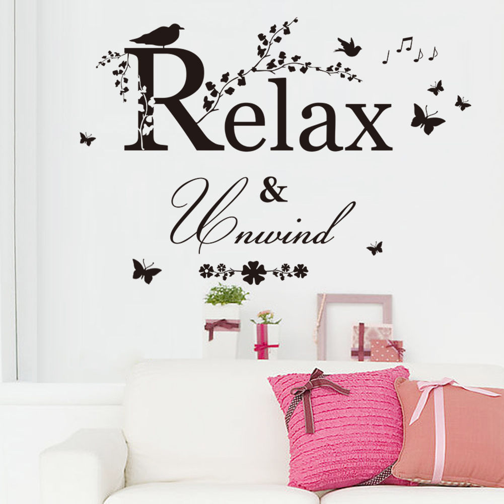 Relax And Unwind Vinyl Wall Stickers Bedroom Home Window Decal Mural Art Decor