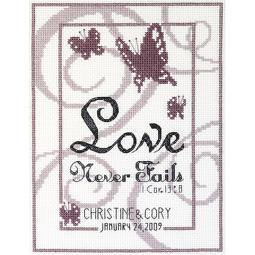 "Love Never Fails Counted Cross Stitch Kit, 6"" x 8"", 14-count"