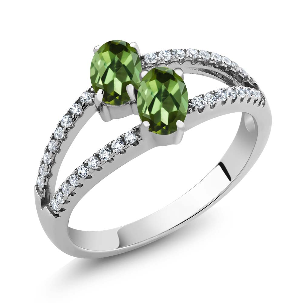 1.41 Ct Oval Green Tourmaline Two Stone 925 Sterling Silver Ring by