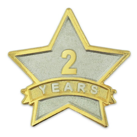 PinMart's 2 Year Service Award Star Corporate Recognition Dual Plated Lapel Pin