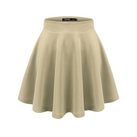 Doublju Women's Basic Versatile Stretchy Flared Casual Mini Skater Skirt BEIGE S