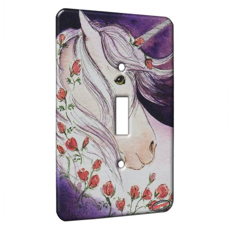 KuzmarK™ Single Gang Toggle Switch Wall Plate - Green Eyed Unicorn with Pink Roses Fantasy Horse Art by Denise Every