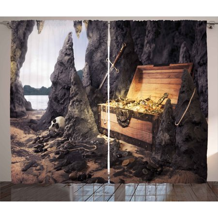 Amber Living Room - Fantasy Curtains 2 Panels Set, Open Treasure Chest with Golds and Sword in Cave Pirate Fairy Illustration, Window Drapes for Living Room Bedroom, 108W X 84L Inches, Charcoal Grey Amber, by Ambesonne