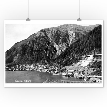 Alaska Aerial Photo - Juneau, Alaska - Aerial View of Town and Coast Photograph (9x12 Art Print, Wall Decor Travel Poster)
