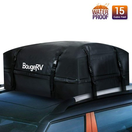 (BougeRV 15 Cubic Feet Rooftop Cargo Carrier Waterproof Roof Top Cargo Bag for Car Truck SUV Vans (Updated Version))