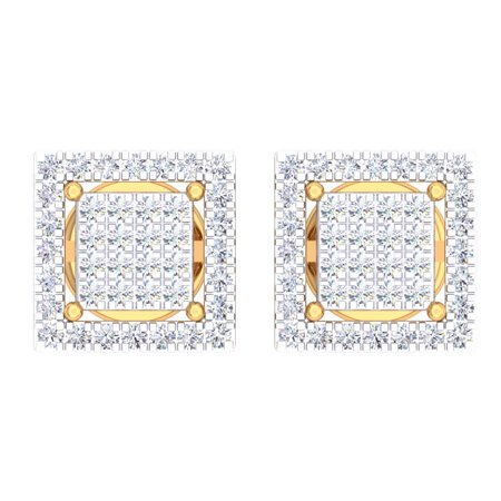 - Dazzlingrock Collection 0.32 Carat (Ctw) 10K Round White Diamond Square Shaped Stud Earrings 1/3 CT, Yellow Gold