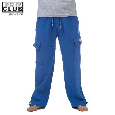 Pro Club Men's Heavyweight Fleece Cargo Sweatpants Royal Blue (Royal Blue Pants)