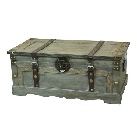 Rustic Gray Large Wooden Storage Trunk ()
