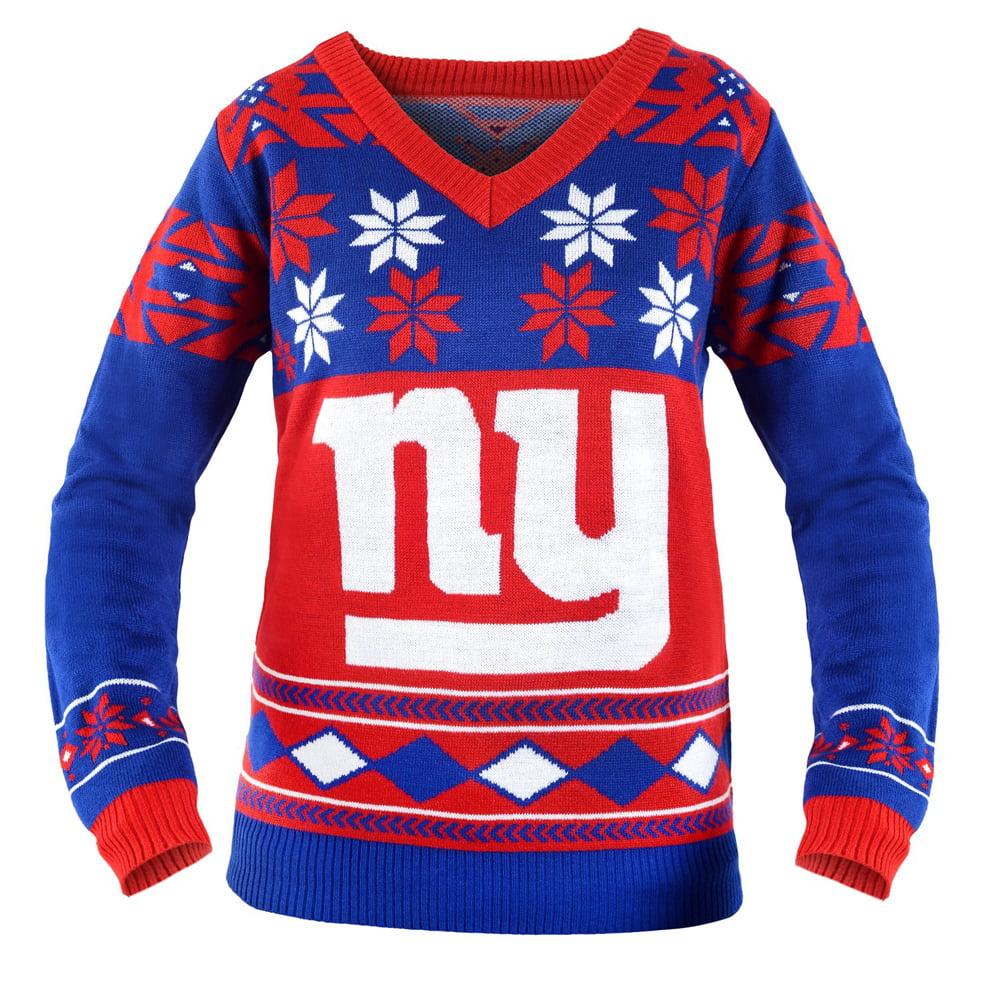 Christmas - New York Giants Women\'s NFL V-Neck Ugly Sweater ...