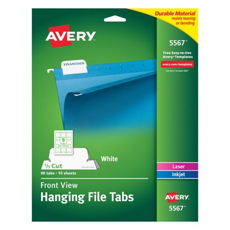 Avery Print/Write-On Hanging Tabs, 1/5 Tab, 2 1/16, White, -