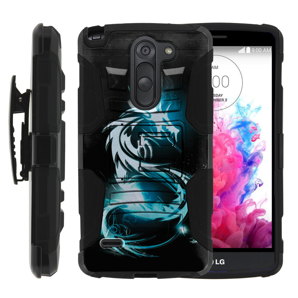 LG G3 Stylus Case | LG D690 Case | G3 Stylus Holster Case [ Clip Armor ] Rugged Case with Kickstand + Holster - White Dragon